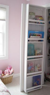Inside closet door storage. Love!