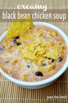 creamy black bean chicken soup.  Use yogurt in place of sour cream, and leave off the cheese to to lighten a bit. Really good!