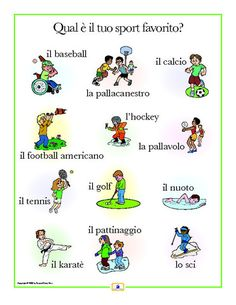 Italian Sports Poster - Italian, French and Spanish Language Teaching Posters | Second Story Press