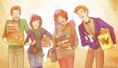 Prank time. by viria13  You might have noticed I am quite obsessed with the Weasley twins now, and so is Jodie. If you have tumblr, love Fred and George, and don't know her yet, check her out, she's wonderful. <3  So I couldn't help myself and drew us. George, me, Jodie and Fred :D We're kinda.. well, running the shop together :D  We would be just like a big Weasley family.