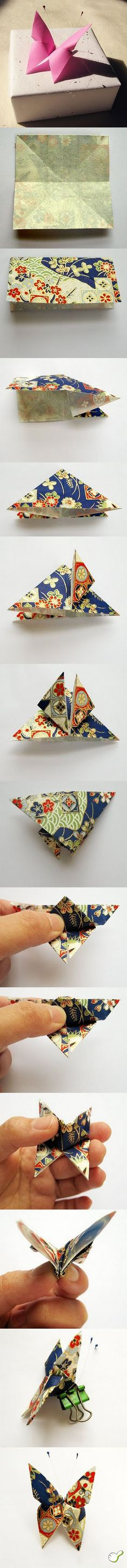 A cute little origami  butterfly. This would look great to make a few and hang them like a butterfly collection