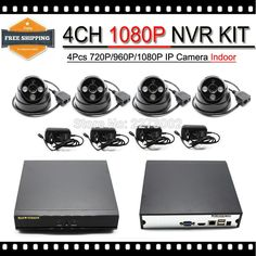 161.99$  Buy now - http://ali6cx.worldwells.pw/go.php?t=32701925125 - HD 960P 4PCS 1.3MP IP CAM 720P Indoor Network CCTV Home Security Camera System 4CH HDMI NVR Surveillance Kits