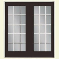 Masonite Willow Wood Prehung Right-Hand Inswing 15 Lite Fiberglass Patio Door with No Brickmold in Vinyl Frame - 40925 - The Home Depot