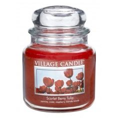 Village Candle Medium Jar - Scarlet Berry Tulip