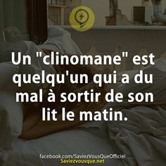 Donc on est 7 milliard à être clinomane XD Good To Know, Did You Know, Quote Citation, French Quotes, Phobias, Funny Facts, Funny Design, Things To Know, Words Quotes