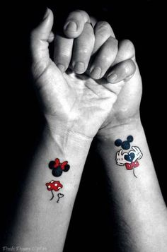 Magical Disney Tattoo Ideas & Inspiration - Brighter Craft - - 100 magical Disney tattoo ideas for every Disney fanatic. Tattoos last forever, but so does the love for Disney. Movies, charcters, quotes, discover here. Mickey Tattoo, Mickey And Minnie Tattoos, Tattoo Disney, Disney Quote Tattoos, Cute Disney Tattoos, Literary Tattoos, Tattoo Quotes, Trendy Tattoos, Small Tattoos
