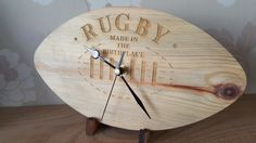 Rugby clock made in the birthplace of the game from reclaimed timber. Comes with certificate of authority.