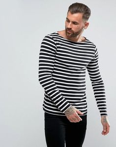 ASOS Long Sleeve T-Shirt With Stripes And Boat Neck - Black