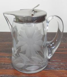 antique syrup pitchers | Details about Antique c. 1910 Elegant Heisey Etched Glass Floral Syrup ...