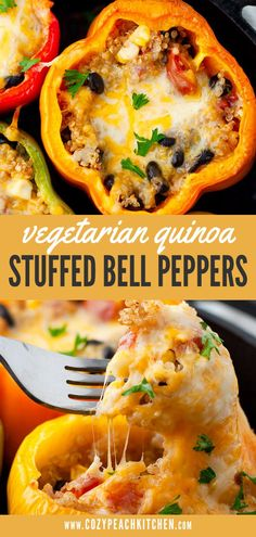 Quinoa stuffed bell peppers are a nutrient-packed & vegetarian-friendly recipe! Perfect for dinners and meal prep. Bell peppers stuffed with quinoa, black beans, corn and tomatoes make for a delicious and healthy dinner or meal prep recipe! Stuffed Bell Peppers Quinoa, Vegetarian Stuffed Peppers, Vegetarian Recipes Dinner, Vegan Recipes, Cooking Recipes, Vegetarian Sandwiches, Vegetarian Breakfast, Vegetarian Cooking, Organic Recipes