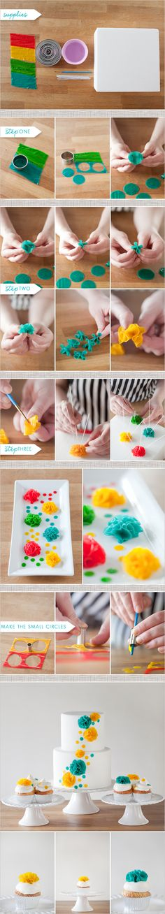 DIY cake flowers made out of fruit roll-ups It looks cool.but I dunno about the fruit roll ups on a cake Fondant Flowers, Edible Flowers, Sugar Flowers, Cake Flowers, Diy Flowers, Flower Diy, Flower Ideas, Wedding Flowers, Icing Flowers