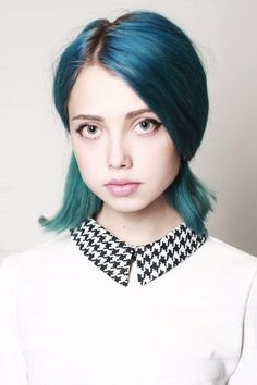 Blue and green hair
