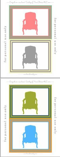 Free chair silhouette postcard printable.