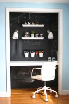 Black chalk board wall. I want to tear out the closet in this room and set up a booth/group study area where it was. I would like the walls around that area to be a black chalkboard