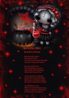 Scarlet Witchling is a good witch who is always on hand to help with potions and spells  www.myfrightlngs.com