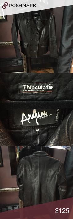 Anjum Collections dbl breast gen. Leather jacket Anjum Collections dbl breast gen. Leather jacket. Amazing thick, heavy but soft supple leather and removable thinsulate quilted lining. Amazing leather jacket! No flaws. A few edges have the 'worn in' look but I think it came that way. anjum collections Jackets & Coats