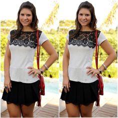 New-Fashion-Women-Vintage-Short-Sleeve-Casual-Lace-Tops-Chiffon-T-Shirt-Blouse