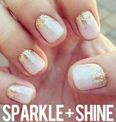 Sparkle + Shine Nail Art #Gold #Glitter