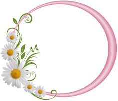 Pink Round Frame with Daisies Frame Floral, Flower Frame, Boarders And Frames, Cute Frames, Calendar Wallpaper, Borders For Paper, Frame Clipart, Round Frame, Floral Border