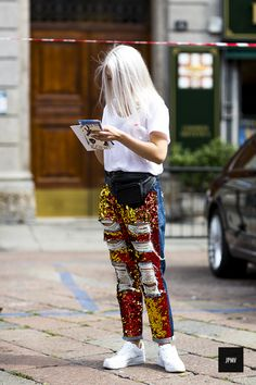 those are some seriously embellished pants. Milan.