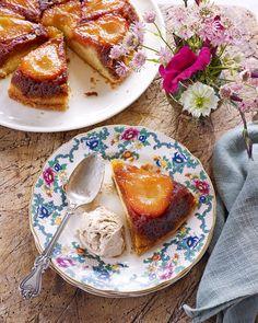 Pear cake, cinnamon and ice cream. A delicious combination of British Autumn flavours.