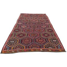 Red Vintage Turkish Kilim Rug - 6′ × 10′6″ (1,005 CAD) ❤ liked on Polyvore featuring home, rugs, red rugs, wool kilim rugs, hand made wool rugs, kelim rug and wool rugs
