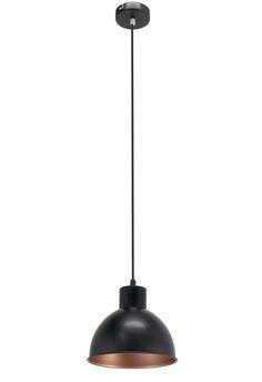 Forme clasice, fine, bine definite, acestea sunt caracteristicile lampii suspendate de culoare neagra din gama Engels. Lampa este realizata din metal, are un finisaj de culoare neagra la exterior in timp ce interiorul este cuprat. Forma abajurului este una clasica, avand forma unei semisfere.