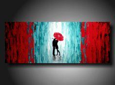 ORIGINAL Contemporary Fine Art Abstract White red por JMJARTSTUDIO
