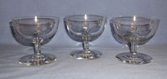 Vintage Seneca Crystal Sherbet Glasses - Celeste Pattern - Set of 3 - Starburst