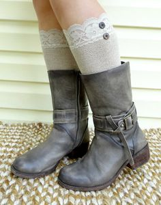 #Legwarmers,shoe toppers #Bootcuffs, in Neutral color and Vintage lace by #CristabelasBoutique for women..