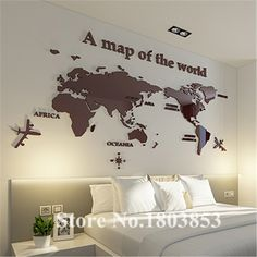 World Map crystal acrylic wall stickers office living room sofa backdrop Home decor Art Sticker Decals Christmas Gift - Buy it Now! Dinosaur Wall Stickers, Kids Wall Decals, Mirror Wall Stickers, Color World Map, World Map Wall Decal, World Map Decor, Wholesale Home Decor, Office Wall Decor, Living At Home