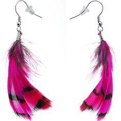 Fuchsia Femme Fatale Feather Earrings