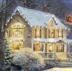 Thomas Kinkade The Night Before Christmas Illuminated Canvas Print