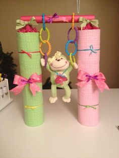 Crossfit diaper cake for a girl.