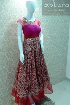 Pink and red heavily embroidered one piece Simple Elegant Dresses, Beautiful Dresses, Indian Gowns, Indian Outfits, Long Gown Dress, Long Frock, Gown Party Wear, Frock Patterns, Anarkali Dress