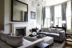 Interior, : Surprising Victorian Interior Design For Living Room Ideas With Charming Grey Sofa And Granite Fireplace Mantel Also Chrystal Wh...