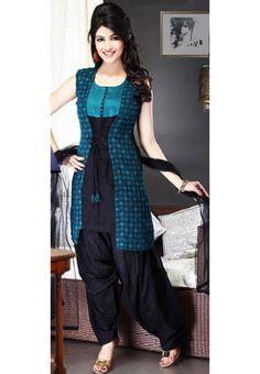 Teal and Black Cotton Salwar Suit