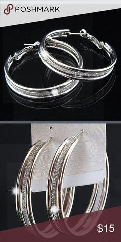 New 🌟💋 Sparkle hoop earrings silver plated New 🌟💋 Sparkle hoop earrings silver plated. Never been used. Jewelry Earrings