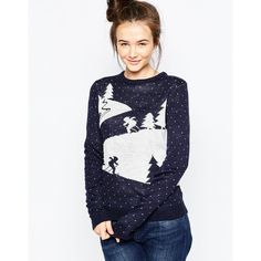 Brave Soul Scenic Christmas Jumper ($27) ❤ liked on Polyvore featuring tops, sweaters, ink, print sweater, christmas jumper, white sweater, ski jumper and ski sweaters