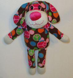 "Dan Dee Peace Sign Dot Brown Sock Dog Monkey Style 15"" Plush Knit  Stuffed #DanDee"
