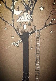 Magical treehouse at night - Maxine Hughes Illustrations