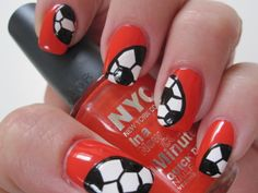 Soccer Nails and my favorite color ... WIN