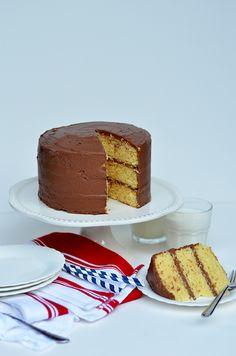 Three Layer Golden Chocolate Cake for Sourdough Sunday.
