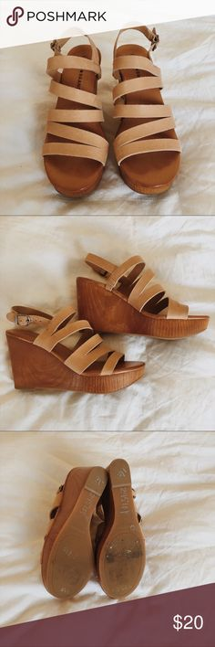 Strappy Wedges Great condition! Match almost every outfit!! Lucky Brand Shoes Wedges