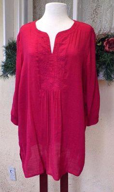 Maggie Barnes Boho Poet Embellished Festival Blouse 1X Fuchsia Linen Look Plus #MaggieBarnes #FestivalTunicBlouse #Career