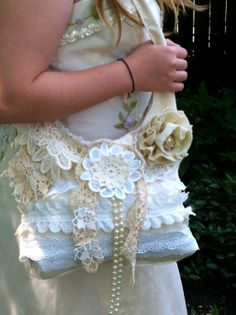"Cream shabby chic boho by2 FAITHandLACE"" I love the layered lace flowers, trims and bits that embellish this over the shoulder bag, bringing in elements of nature and feminity"