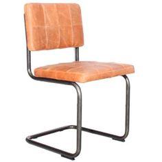 Stoel Nelson, Jess design. Strakke stoel bekleed in leder, patchwork leer. mat zwart buisframe. divers leer mogelijk. Old glory collectie.