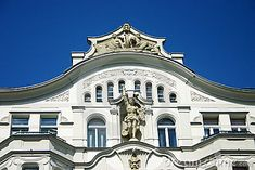 The old white house, architectural moulding of a facade outside. Berlin, Germany