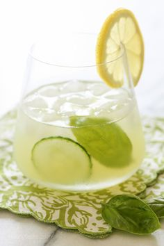 A perfectly balanced skinny cocktail recipe great for warm weather: Basil-Cucumber Cooler   Skinny Taste