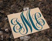 Vinyl Monogram Decal Sticker, Oracal 651, Personalized Initials for Auto, Car, Home